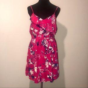 Xhilaration bright pink floral sleeveless dress